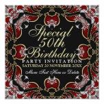 Rojo+Invitaciones de la fiesta de cumpleaños del Anuncios Personalizados
