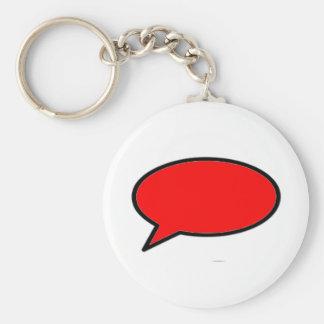 Rojo izquierdo de la burbuja de la palabra los reg llavero personalizado