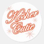 rojo kosher del cutie etiqueta redonda