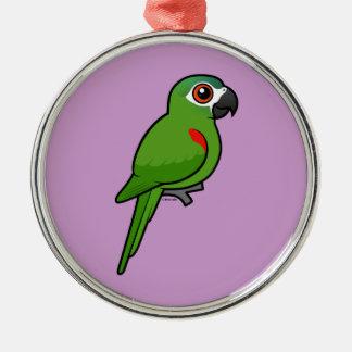 Rojo-llevó a hombros el Macaw Adorno Navideño Redondo De Metal