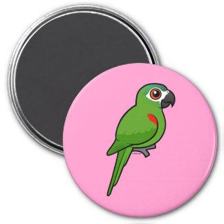Rojo-llevó a hombros el Macaw Imán Redondo 7 Cm
