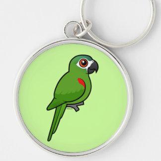 Rojo-llevó a hombros el Macaw Llavero Redondo Plateado