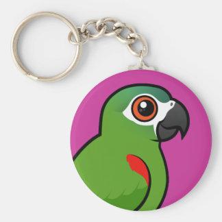 Rojo-llevó a hombros el Macaw Llavero Redondo Tipo Pin