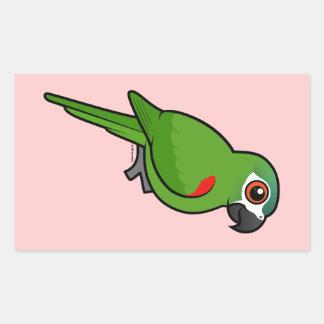Rojo-llevó a hombros el Macaw Pegatina Rectangular