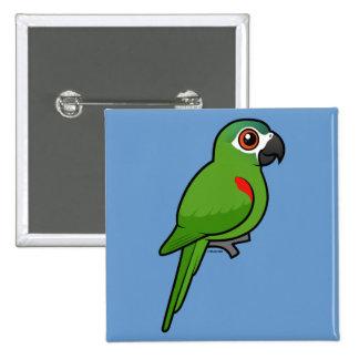 Rojo-llevó a hombros el Macaw Pin Cuadrada 5 Cm