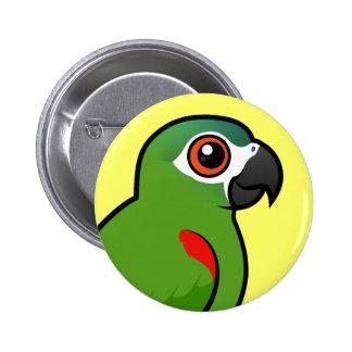 Rojo-llevó a hombros el Macaw Pin Redondo 5 Cm