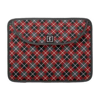 Rojo marrón Argyle blanco y negro gris oscuro Funda Macbook Pro