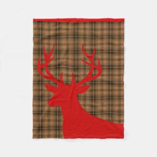 Rojo marrón de la tela escocesa el | de la silueta manta de forro polar