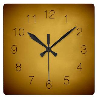 Rojo marrón rico ocre amarillo de tierra del oro reloj cuadrado