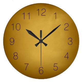 Rojo marrón rico ocre amarillo de tierra del oro reloj redondo grande