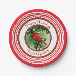 Rojo masculino de la rama del cardenal y del acebo plato de papel de 7 pulgadas