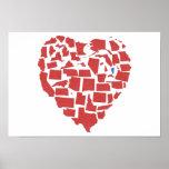 rojo merican de Vermont del mosaico del corazón de Póster