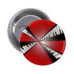 Rojo metálico con el botón negro de la música de l pins