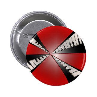 Rojo metálico con el botón negro de la música de l pin redondo de 2 pulgadas