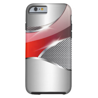 Rojo metálico de la redada de la malla del cromo funda resistente iPhone 6