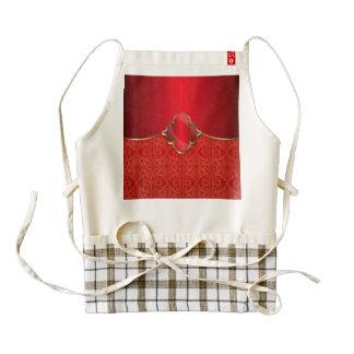 Rojo metálico, oro, moda, elegante, hermosa, delantal zazzle HEART