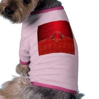Rojo metálico, oro, moda, elegante, hermosa, camiseta con mangas para perro