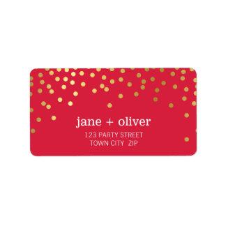 Rojo moderno de la hoja de oro de puntos del confe etiqueta de dirección