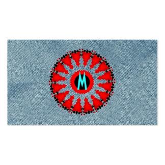 Rojo moderno del art déco del dril de algodón tarjetas de visita
