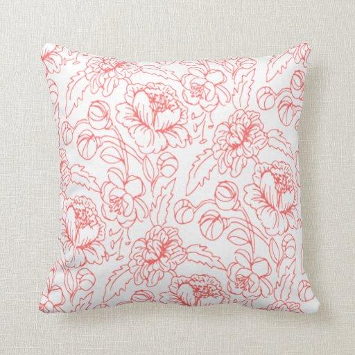 Rojo moderno monocromático botánico color de rosa cojín decorativo