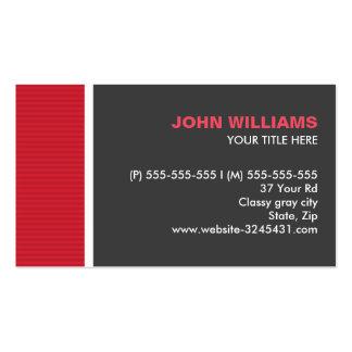 Rojo moderno y el gris raya perfil profesional tarjetas de visita