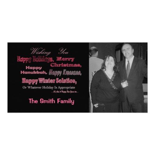Rojo multi del día de fiesta en negro tarjeta fotografica personalizada