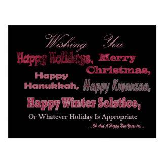 Rojo multi del día de fiesta en negro tarjeta postal