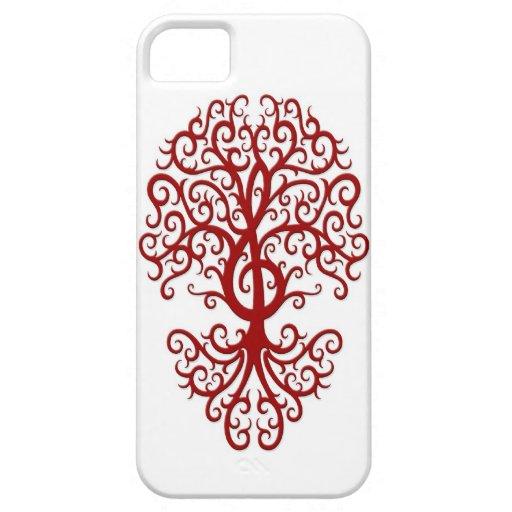 Rojo musical del árbol del Clef agudo en blanco iPhone 5 Case-Mate Cárcasa