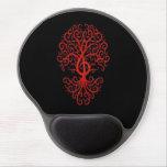 Rojo musical del árbol del Clef agudo en negro Alfombrilla Con Gel