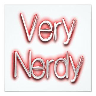 Rojo muy Nerdy Invitación 13,3 Cm X 13,3cm