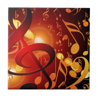 Rojo, naranja, modelo de la nota de la música azulejo cuadrado pequeño