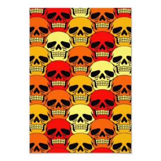 """Rojo, naranja y amarillo del modelo del cráneo que invitación 3.5"""" x 5"""""""