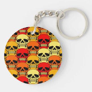 Rojo, naranja y amarillo del modelo del cráneo que llavero redondo acrílico a doble cara