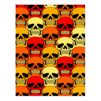 Rojo, naranja y amarillo del modelo del cráneo que postal