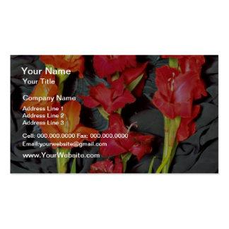 Rojo, naranja y flores del gladiolo del escarlata tarjetas de visita