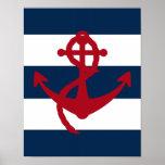 Rojo náutico, marina de guerra y blanco de la impr poster