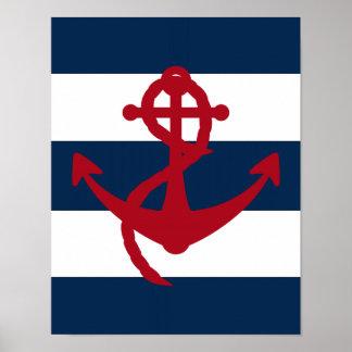 Rojo náutico, marina de guerra y blanco de la impr póster