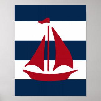 Rojo náutico, marina de guerra y blanco de la póster