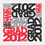 Rojo negro 2012 del pegatina de la graduación