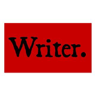 Rojo negro del escritor tarjetas de visita