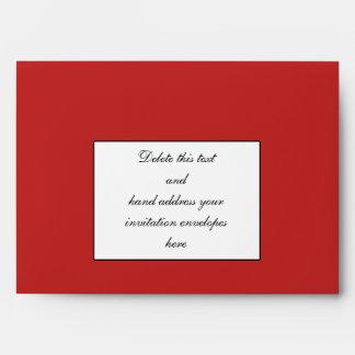 Rojo negro del sobre del boda del monograma del