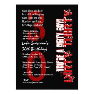 Rojo negro del trigésimo cumpleaños sucio treinta anuncio