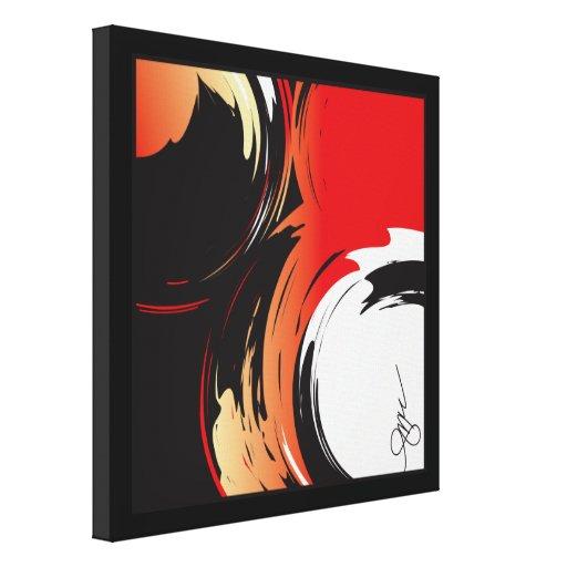 Rojo, negro y blanco impresión en lona estirada