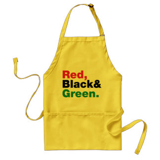 Rojo, negro y verde delantal