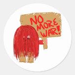 Rojo no más de guerra etiquetas redondas