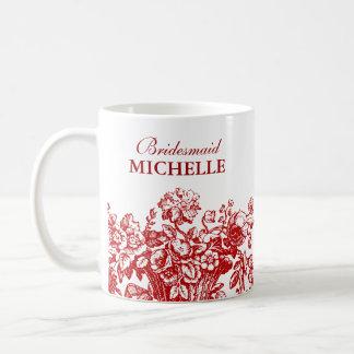 Rojo nupcial de la cesta floral del favor de la taza de café