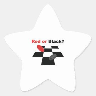 Rojo o negro pegatina en forma de estrella