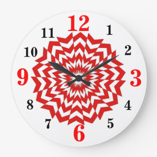 Rojo óptico moderno del reloj de pared del diseño