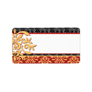 Rojo ornamental dorado elegante y oro del damasco etiquetas de dirección