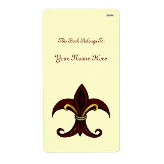 Rojo/oro de la flor de lis etiquetas de envío